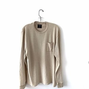 ABERCROMBIE AND FITCH MEN'S BEIGE SWEATSHIRT LARGE